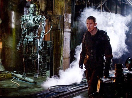 Christian Bale Terminator Salvation walking through factory