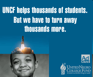UNCF ad boy with rocket coming from head