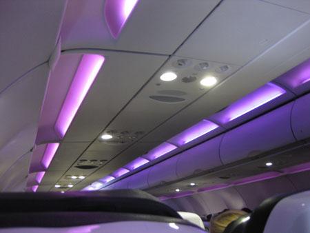 Virgin America mood lighting