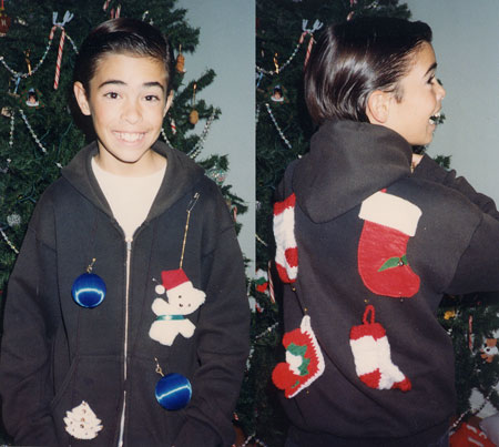 jacket with Christmas ornaments attached by safety pins