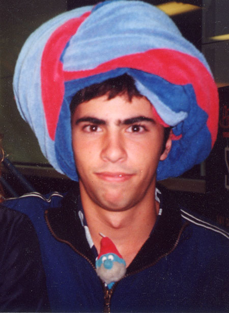 mark with towel turban and smurf in jacket