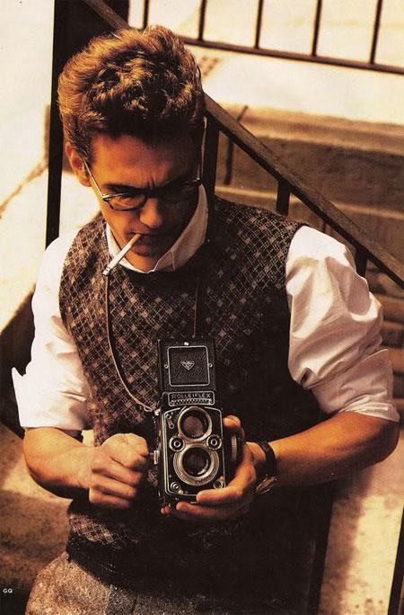 James Franco as James Dean in sweater vest