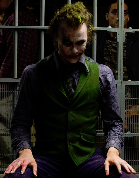 The Joker from The Dark Knight in cell