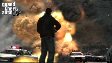 GTA IV Niko exploding cop cars