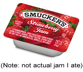 Smucker's strawberry jam packet