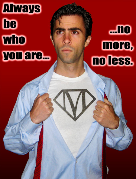 Mark Mushakian superman shirt open pose be who you are