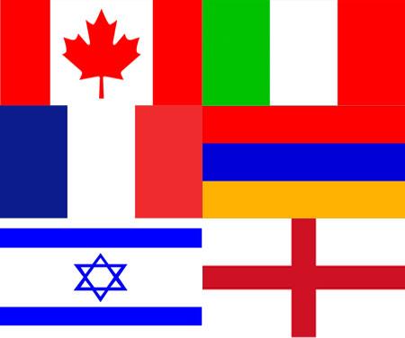 international flags, Candada, Italy, Armenia, England, Israel, France