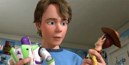 Toy Story 3 Andy growing up looking at Woody and Buzz