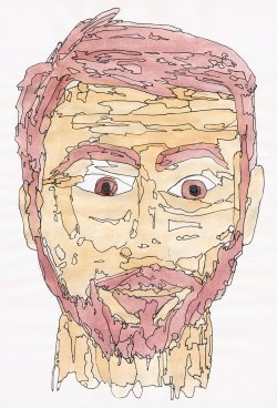 Mark Mushakian portrait - 2013 - Watercolor w/ pen outline of differing values