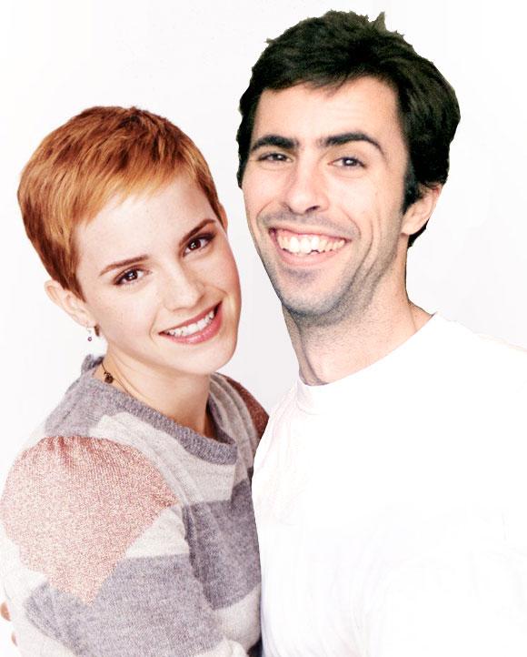 Emma Watson and Mark Mushakian portrait smiling