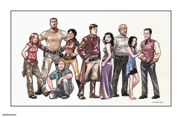 Firefly cast illustration by Ron Chan