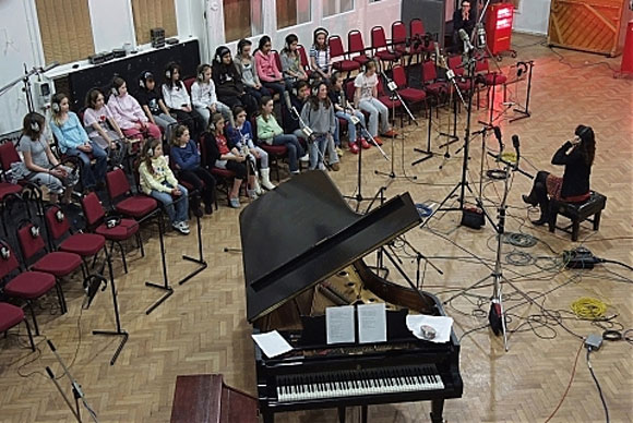 Capital Children's Choir with Rachel Santesso in Abbey Road Studio