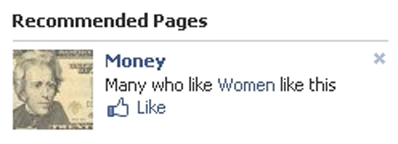 Facebook page recommendation Money those who like Women also like this