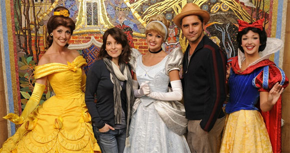 Tina Fey and John Stamos with Disney princesses for some reason