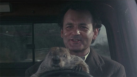Groundhog Day Billy Murray driving with Groundhog