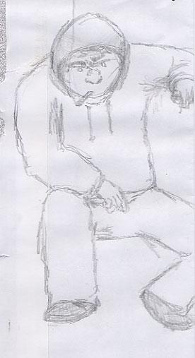 Sunday Sketch of a man in sweat-jacket smoking