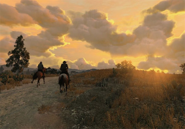 Red Dead Redemption riding off into sunset