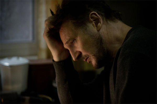 Liam Neeson sad in The Grey