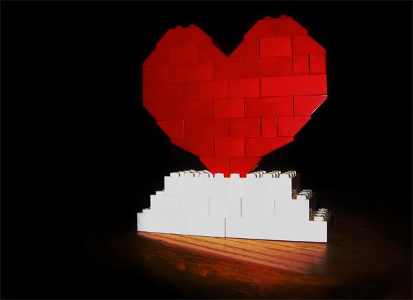 LEGO brick heart valentine