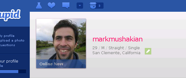 Mark Mushakian OkCupid profile