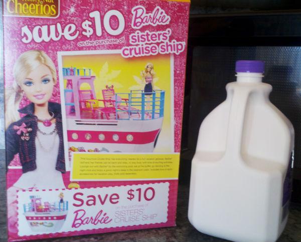 Honey Nut Cheerios box coupon barbie sister's cruise ship