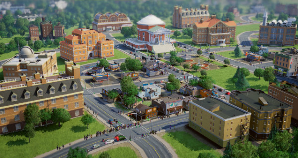 SimCity 2013 tilt shift view of town