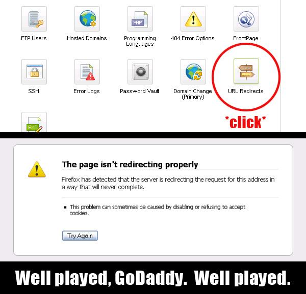 godaddy settings url redirect not working
