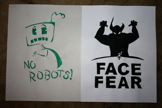 screen prints no robots and face fear