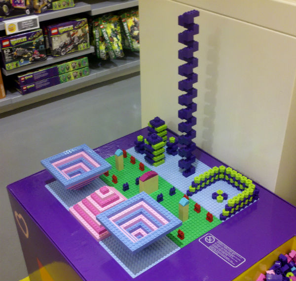 Mission Viejo mall Lego Store build by employee during slow day