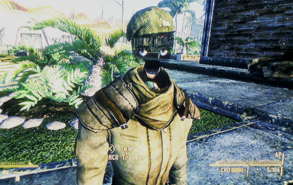 Fallout New Vegas NCR soldier without face scary