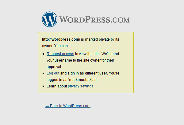 Wordpress.com marked as private blog error page