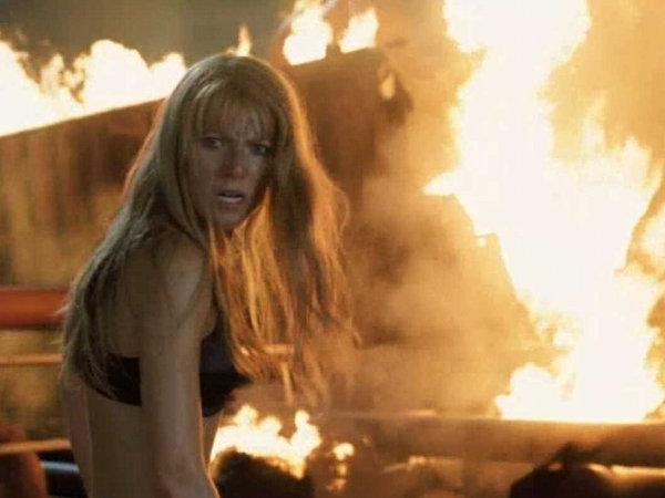 Gwyneth Paltrow as Pepper Potts Iron Man 3 sports bra fire