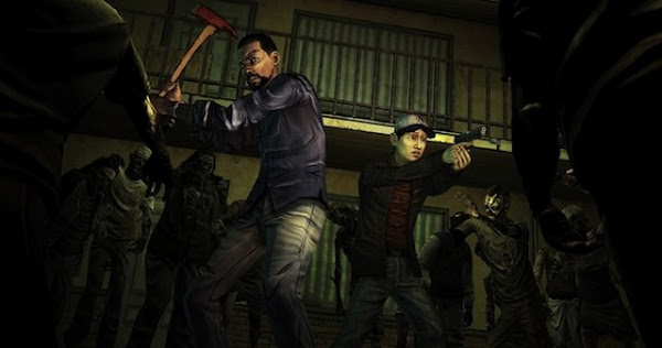 Lee with an ax and Glen with a gun surrounded by zombies in Telltale Games The Walking Dead