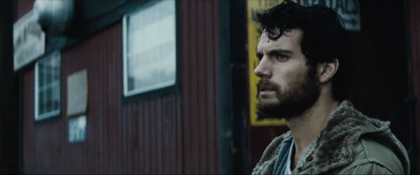 Henry Cavill as bearded Clark Kent  in Man of Steel