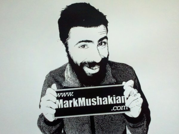 Mark Mushakian screen print with plain background