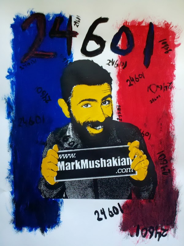 screen print Andy Warhol style project Mark Mushakian promo French flag 24601