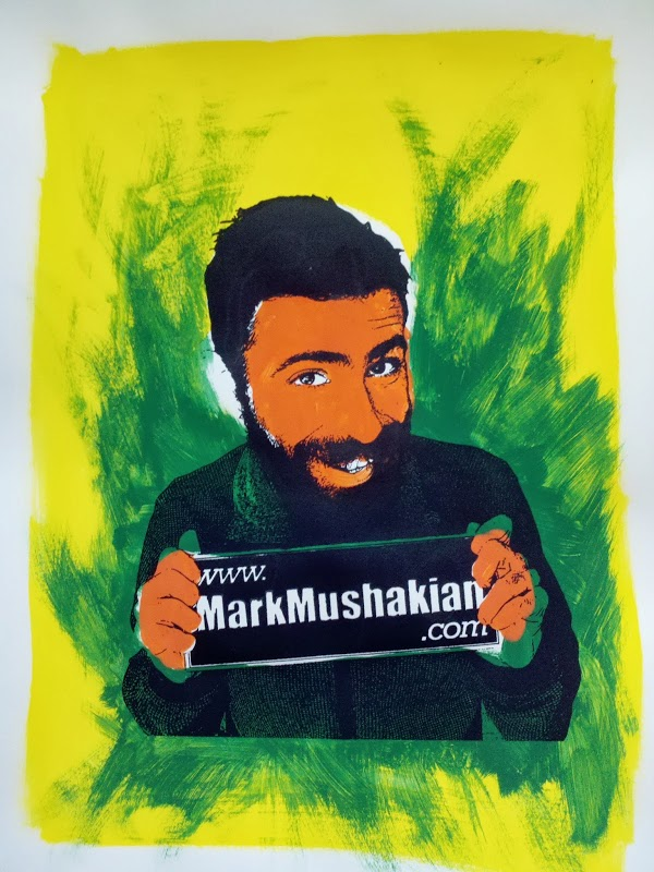 screen print Andy Warhol style project Mark Mushakian promo green flame