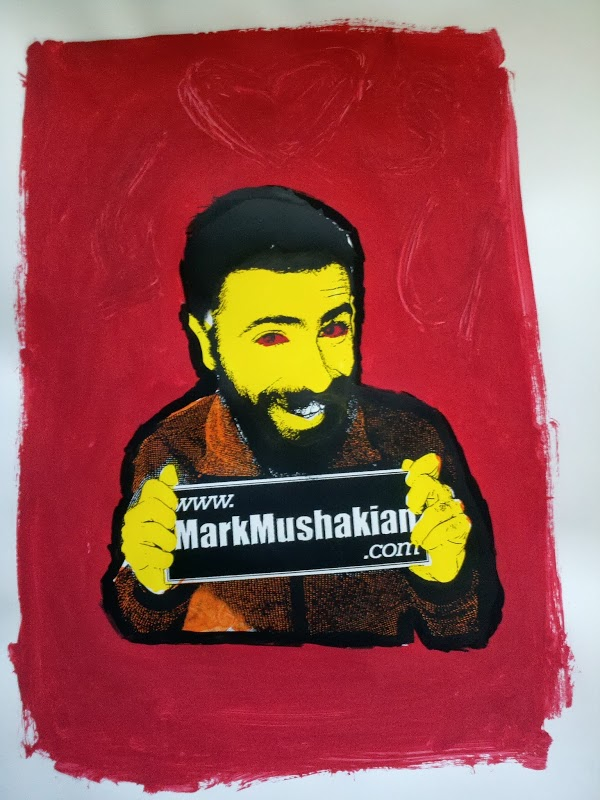 screen print Andy Warhol style project Mark Mushakian promo scary eyes