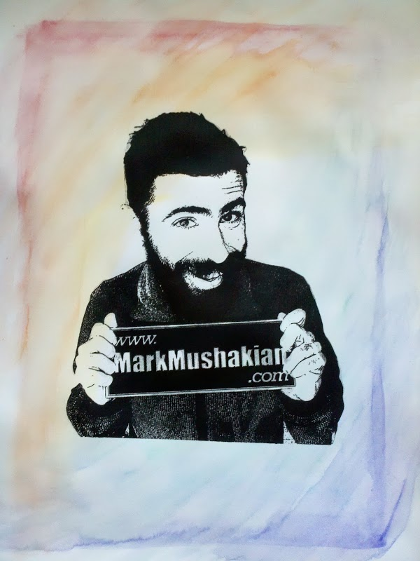 screen print Andy Warhol style project Mark Mushakian promo watercolor rainbow