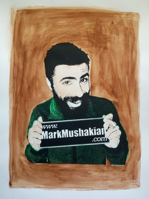 screen print Andy Warhol style project Mark Mushakian promo watercolor brown and green