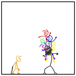 Weekly stick man web comic Out of the Box 139 Rainbow Of The Colossus