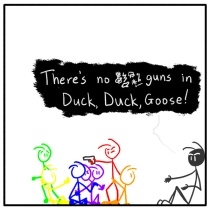 weekly stick figure web comic Out of the Box 141 Duck! Duck! BANG!