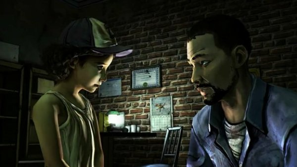 Clementine and Lee talking