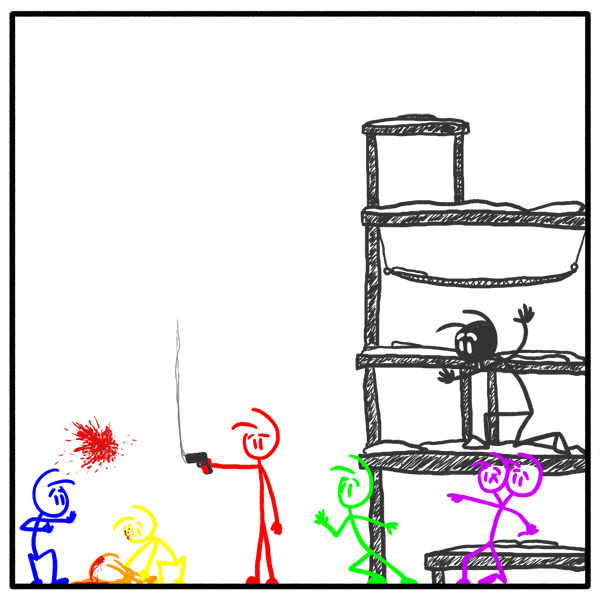 Weekly stickman web comic Out Of the Box 152 Misfire