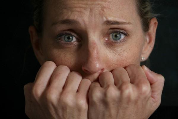 beautiful eyes woman scared stress anxiety