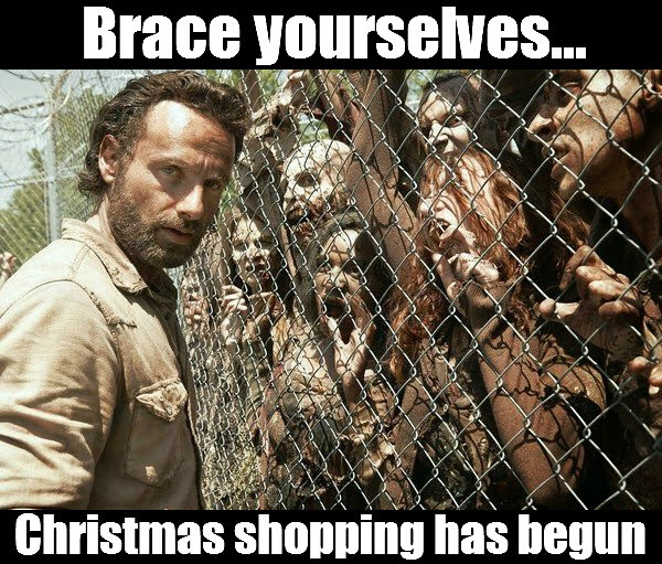 Rick from Walking Dead facing fence with walkers Christmas shopping