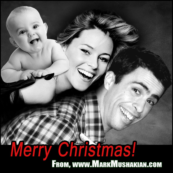 Mark Mushakian with baby and Elizabeth Banks for annual site Christmas card
