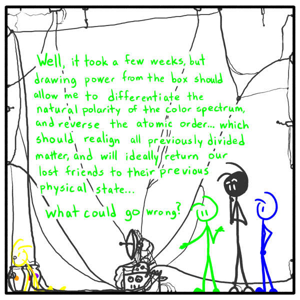 Out of the Box weekly stick figure web comic 165 Famous Last Words