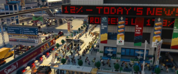 The Lego Movie still city sidewalk street view