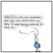 weekly web comic about a stick figure trapped Out of the Box 191 Solitary Spam
